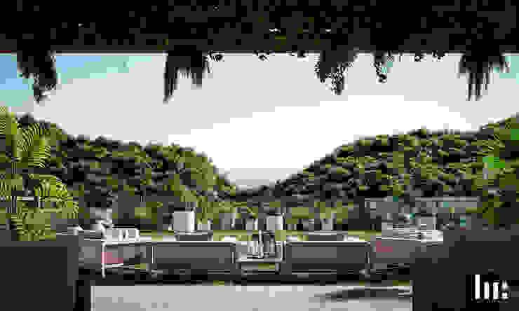 Fogatero, Sala & Jardin HC Arquitecto Balcones y terrazas minimalistas Concreto Blanco