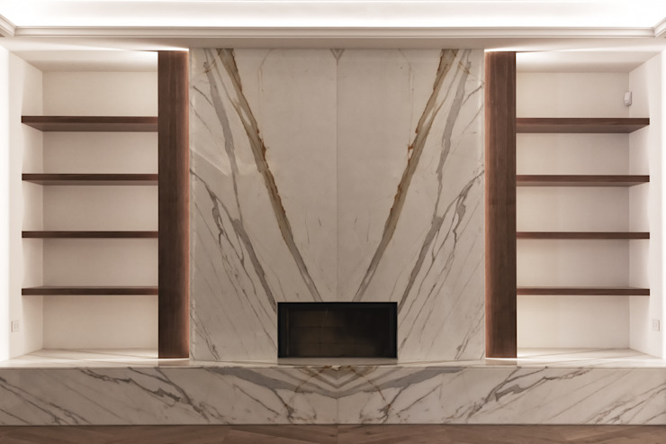 The fireplace finished in Calacatta marble & mahogany shelving Tognini Bespoke Furniture Living roomTV stands & cabinets Marble White