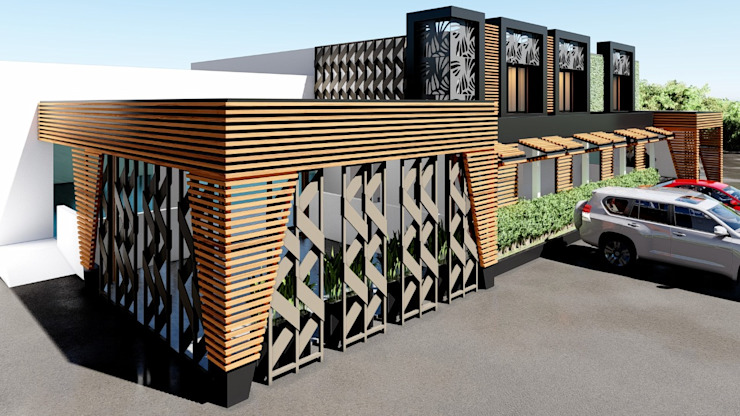 JOTARCO ARQUITECTURA Y CONSTRUCCION Minimalist conservatory Wood-Plastic Composite Wood effect