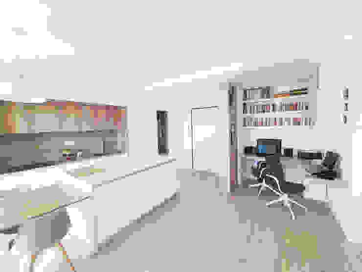 Open space con home office Spazio 14 10 Ingresso, Corridoio & Scale in stile moderno Legno Bianco