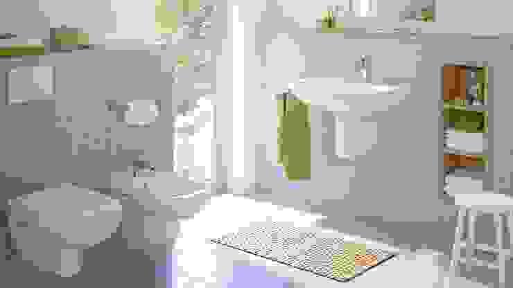 Baño completo con muebles a pared Hygolet de Mexico BañosAseos Cerámica Blanco