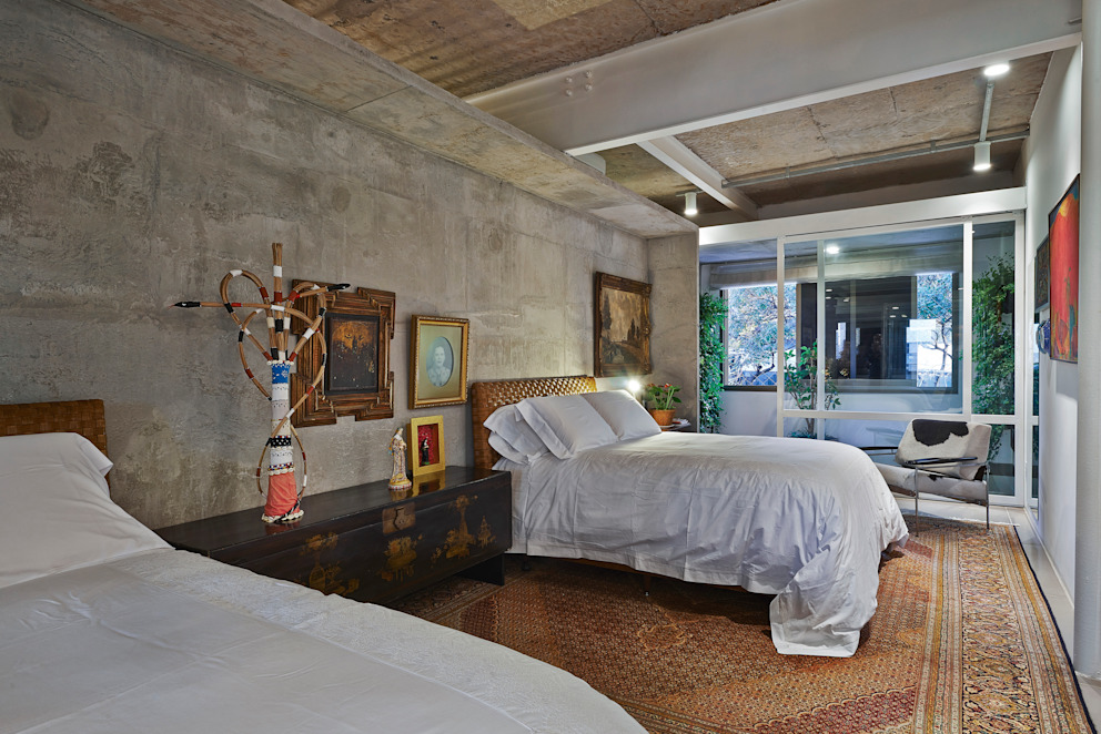 Dormitório casal Quartos minimalistas por Piratininga Arquitetos Associados Minimalista