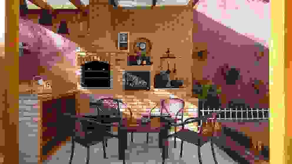 Espaço Gourmet Varandas, alpendres e terraços rústicos por homify Rústico Tijolo