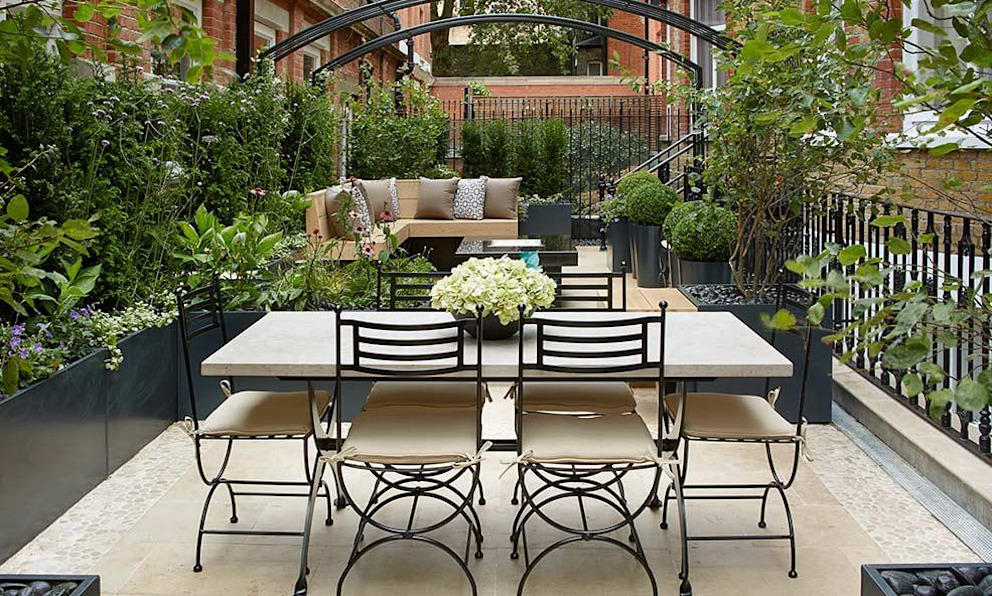 Bahama Gas Fire Table - Grade 2 Listed Garden, Knightsbridge Rivelin Modern style gardens Granite Black
