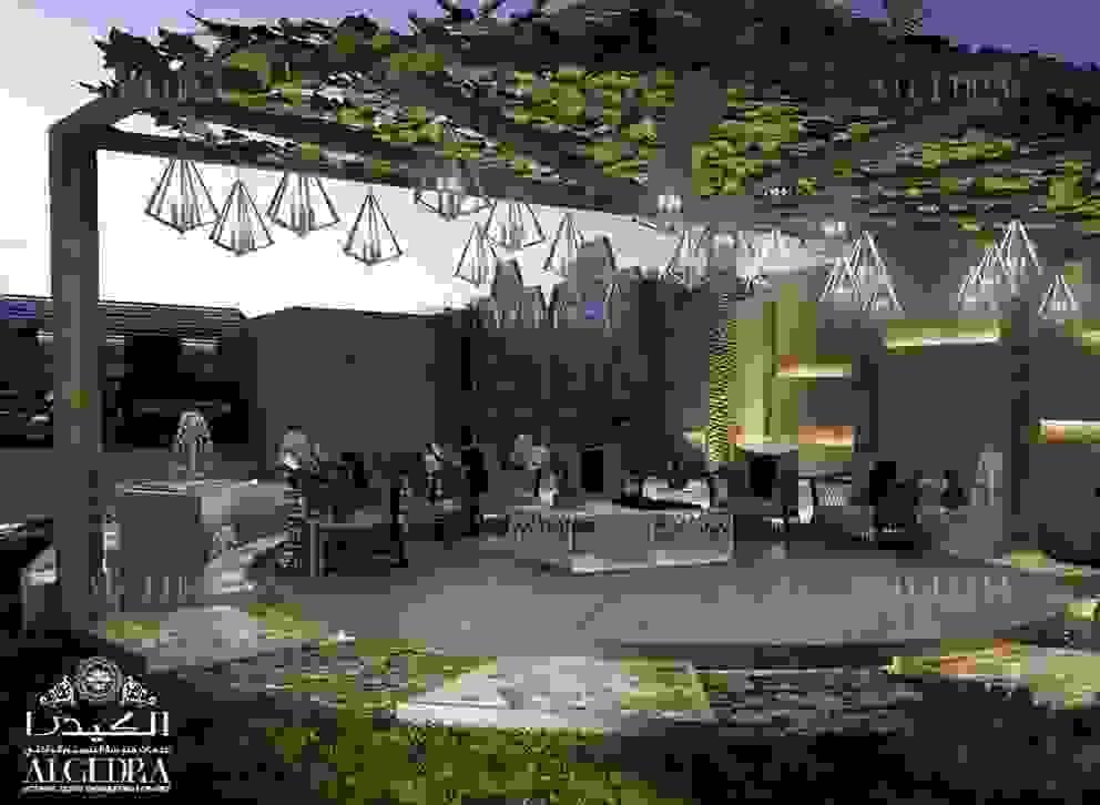 Luxury villa outdoor sitting area in front yard Algedra Interior Design Villas