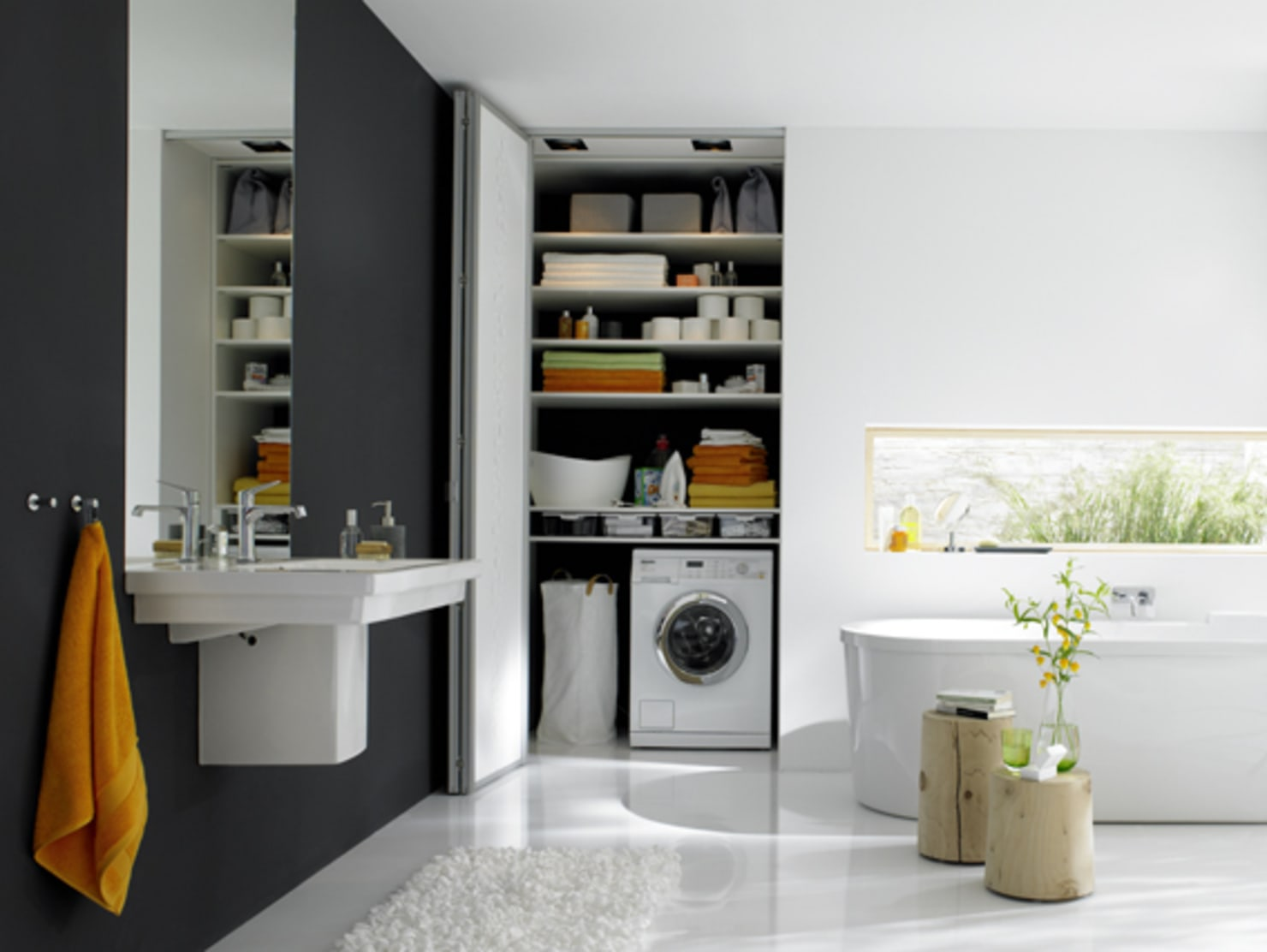 6 brilliant ideas to hide the washing machine in the bathroom