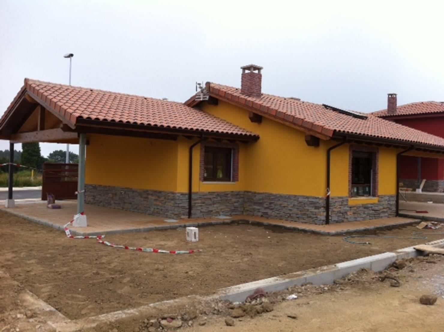 La construcción de una casa prefabricada rústica en Asturias
