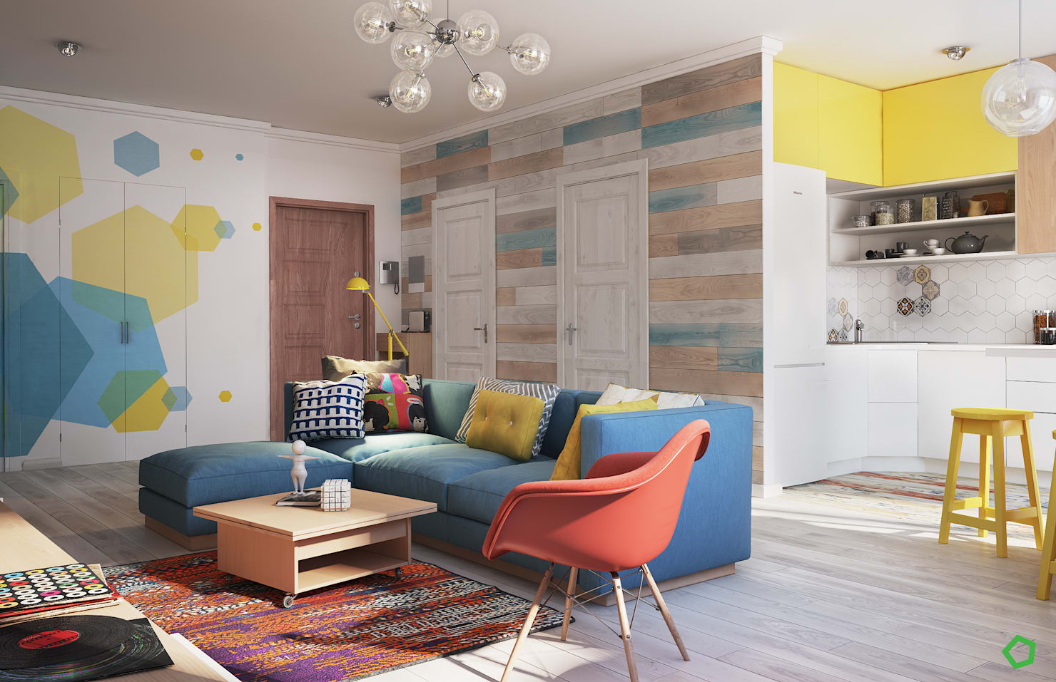 This modern apartment is a playground for colors!