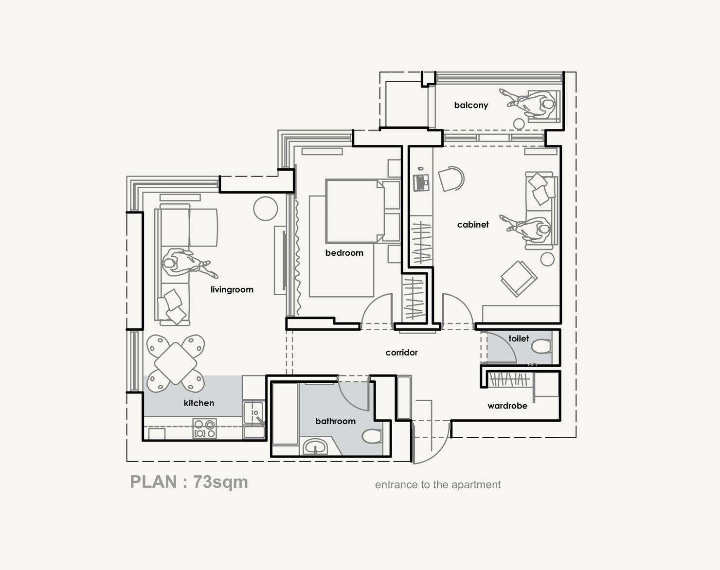 Un super appartement moderne de 73 m2