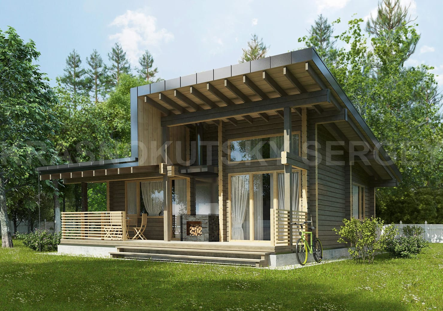 Стильный дом из клееного бруса в 55 кв. метров