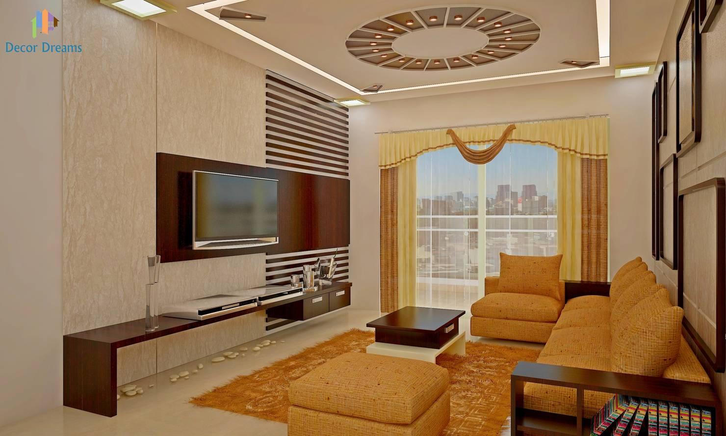 Sobha City, 3 BHK - Mr. Agrawal:  Living room by DECOR DREAMS