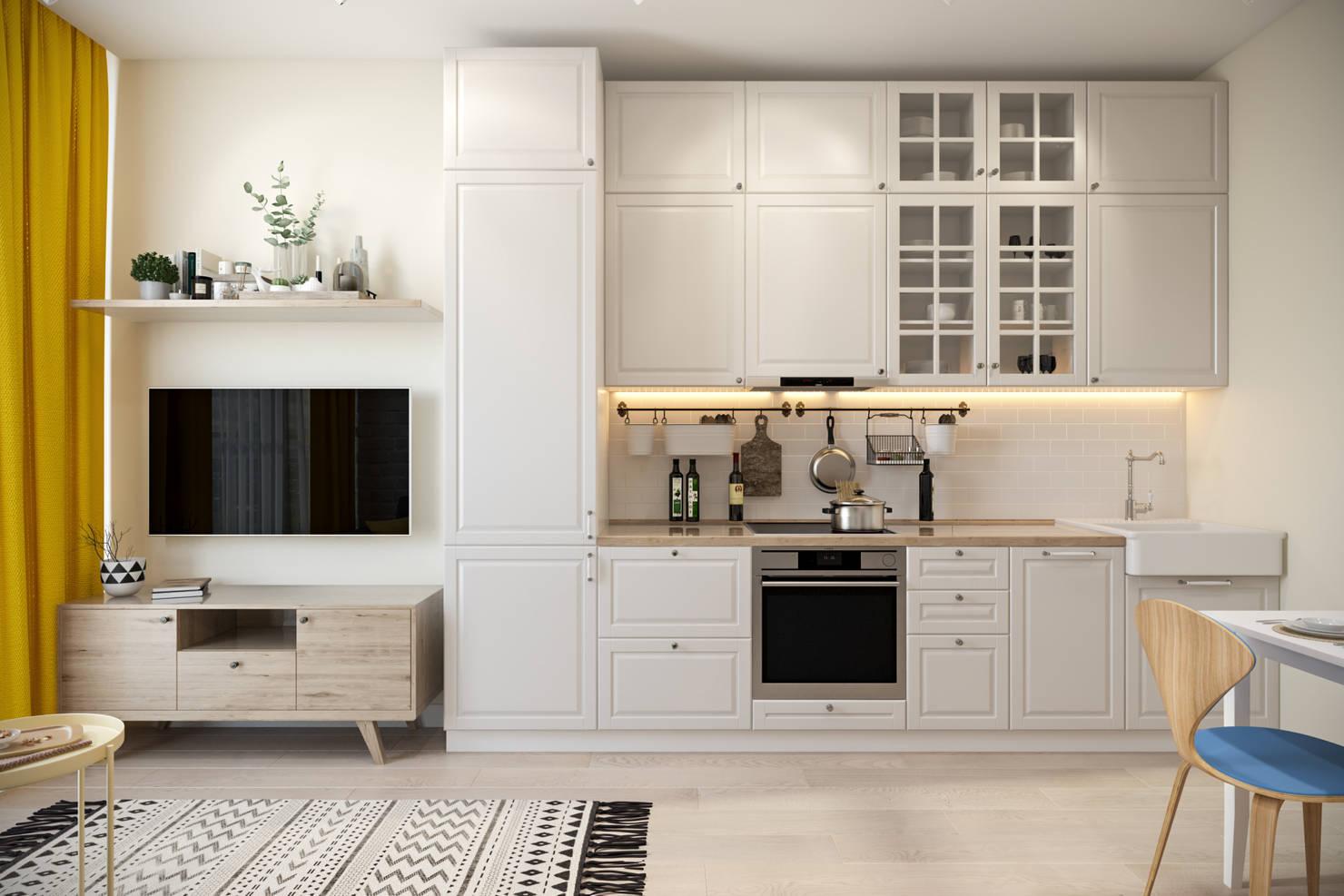 На фото - Белый и золотой в дизайне кухни: гламурный шик