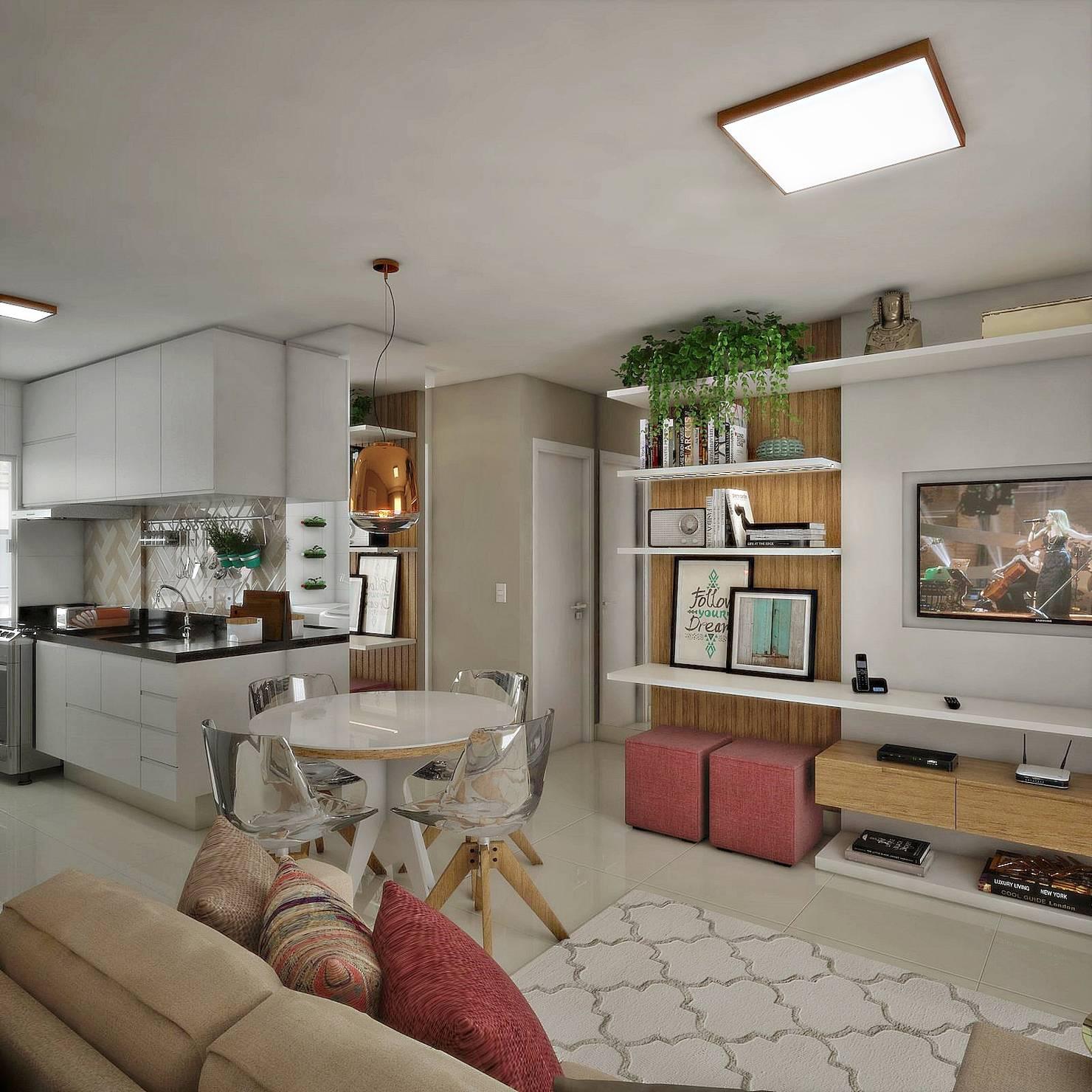 Apartamento de 40 m² traz ideias perfeitas para decorar espaços pequenos