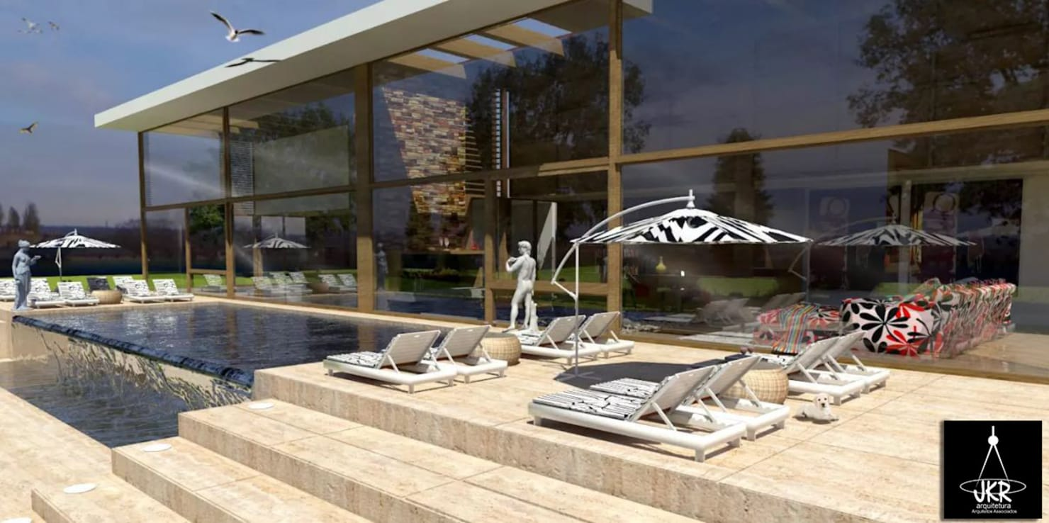 Projeto de área de lazer com piscina de borda infinita em Brasília
