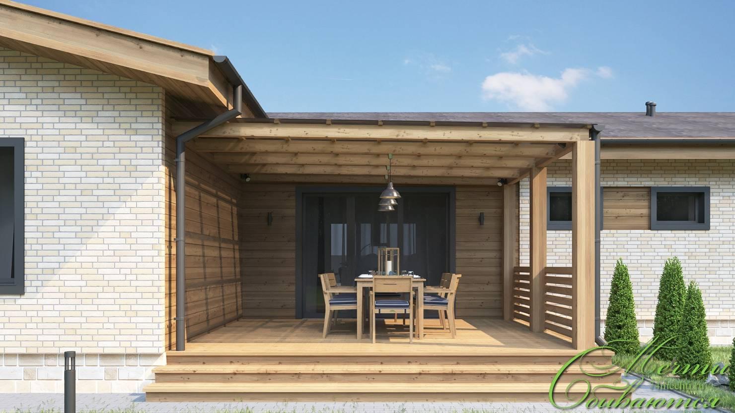 На фото - Проект частного дома в стиле американского бунгало с планировкой