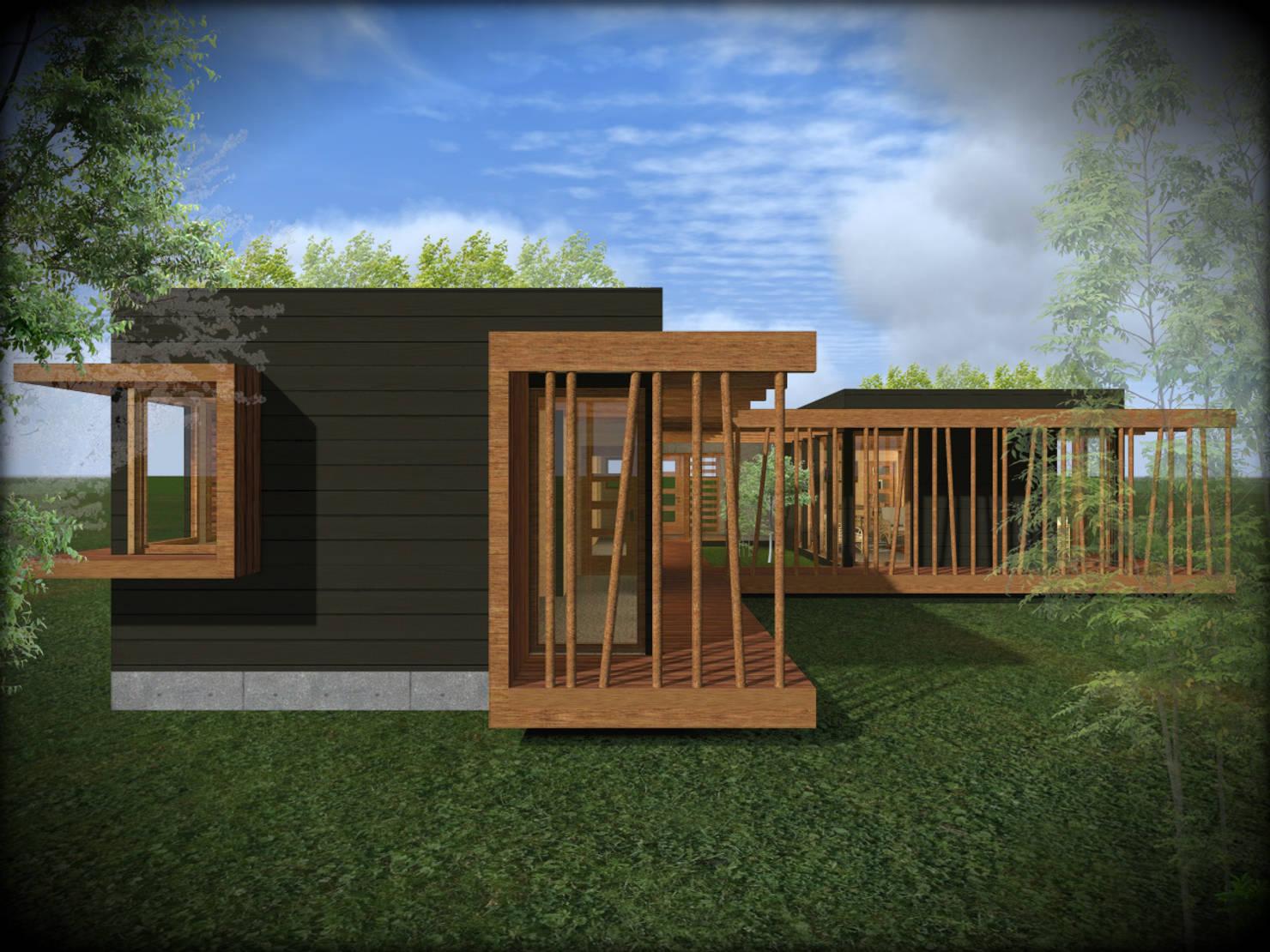 Proyecto de casa de madera con estilo rústico