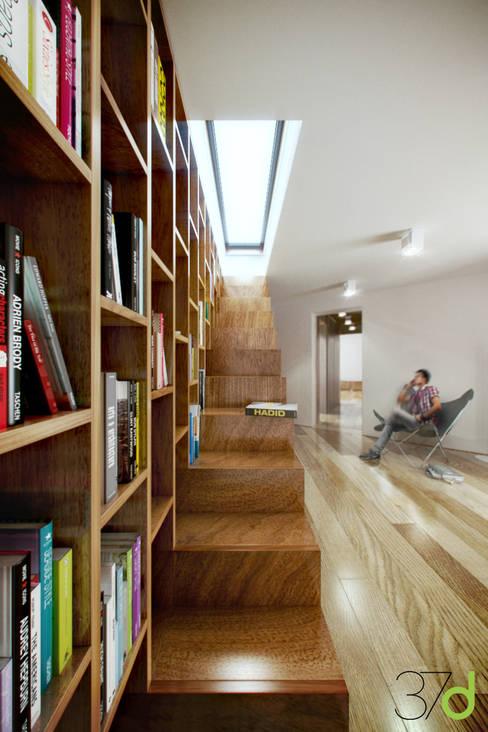 Casa en una Pineta: Pasillos y vestíbulos de estilo  de 37d Architecture Office