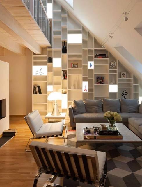 Loft à Luxembourg: Salon de style  par Les Pampilles - Architecture d'intérieur