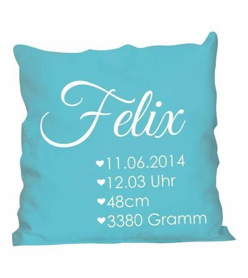 Kissen Geburt mit Name und Daten:  Kinderzimmer von www.wandtattoo-home.de