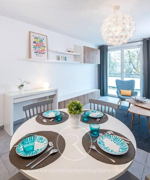 Salon d'un appartement Témoin : Salon de style  par Sandrine RIVIERE Photographie
