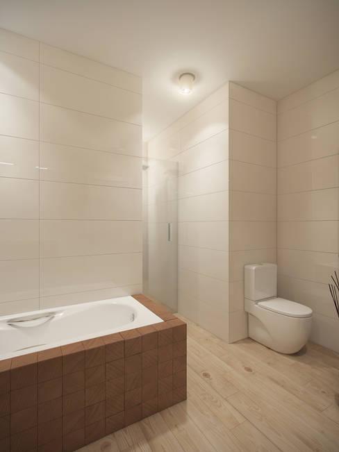 Дизайн квартиры в ЖК Суханово парк: Ванные комнаты в . Автор – White & Black Design Studio