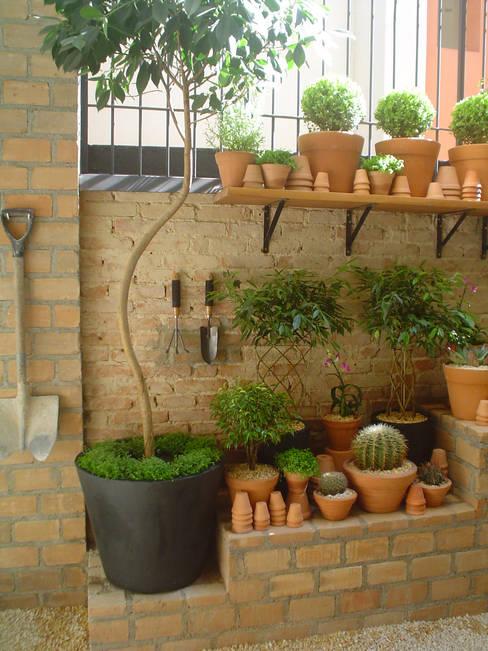 PEQUENO JARDIM APARTAMENTO TÉRREO. SÃO PAULO.BRASIL: Jardins  por Línea Paisagismo.Claudia Muñoz