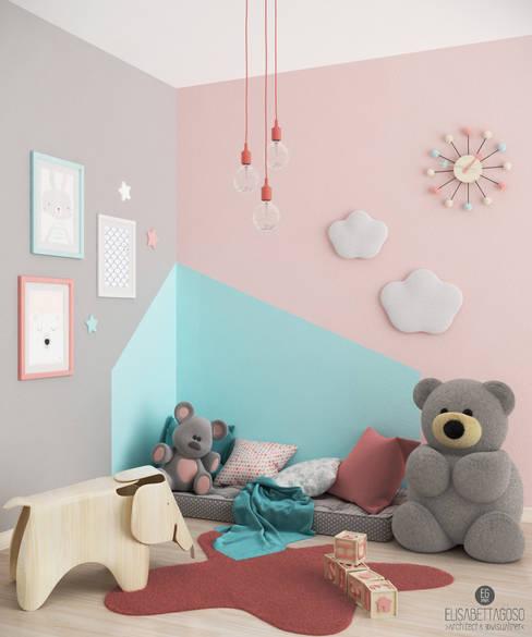 Cameretta#1: Stanza dei bambini in stile  di Elisabetta Goso >architect & 3d visualizer<