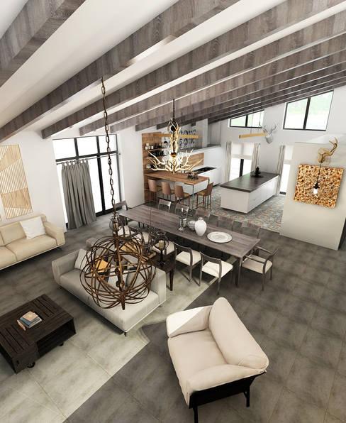 Интерьер загородного дома: Столовые комнаты в . Автор – AnARCHI