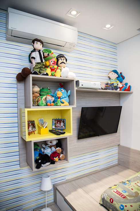 Apto 92m²: Quarto infantil  por Andressa Saavedra Projetos e Detalhes