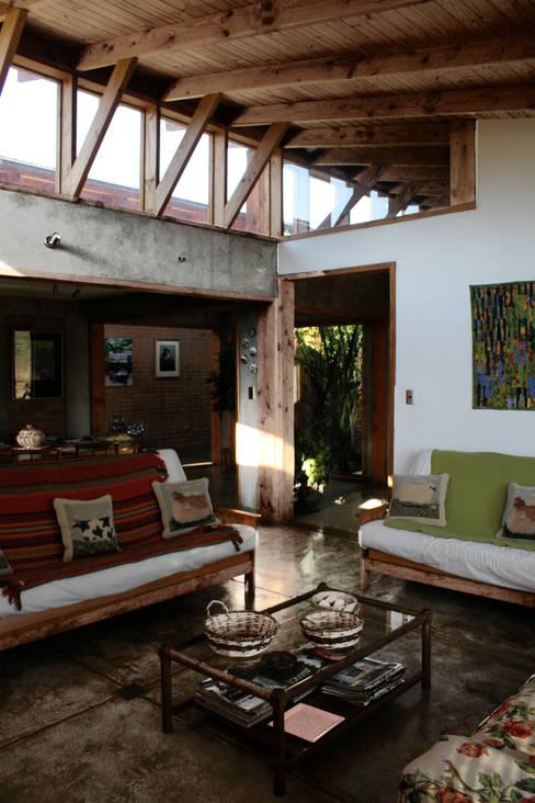 Living: Livings de estilo  por ALIWEN arquitectura & construcción sustentable - Santiago