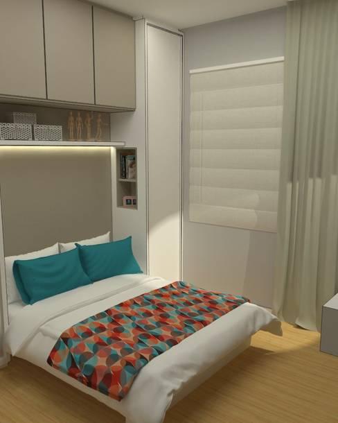 Dormitório pequeno e funcional: Quartos  por .Villa arquitetura e algo mais