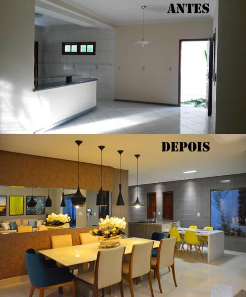 Antes e Depois da sala de jantar e cozinha: Salas de jantar  por CARDOSO CHOUZA ARQUITETOS