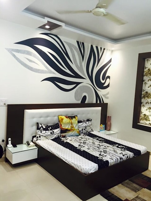 Residence interiors:  Bedroom by Akaar architects