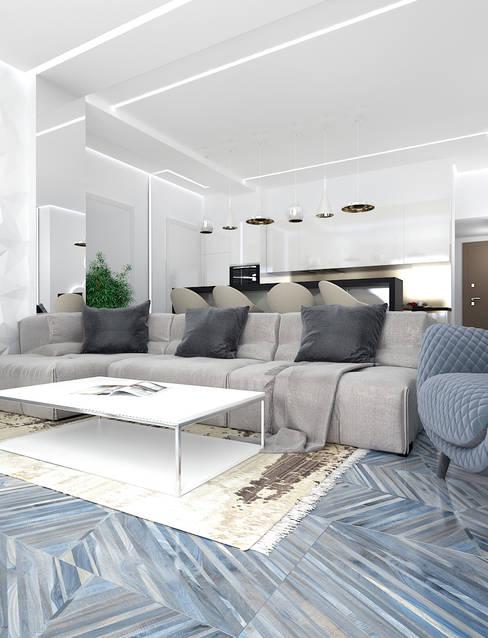 Солнечная квартира у моря: Гостиная в . Автор – VITTA-GROUP