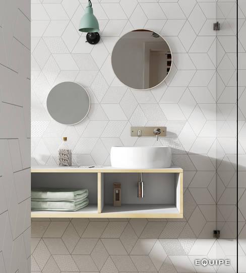 Rhombus White 14x24: Baños de estilo  de Equipe Ceramicas