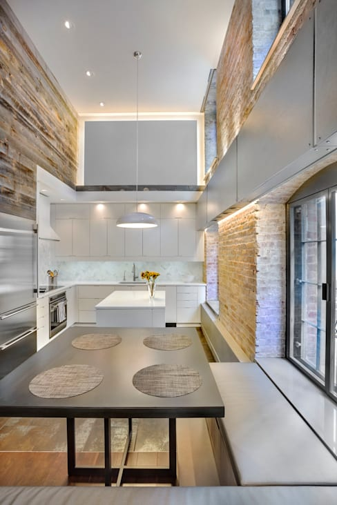 Laight Street Duplex:  Kitchen by Rodriguez Studio Architecture PC
