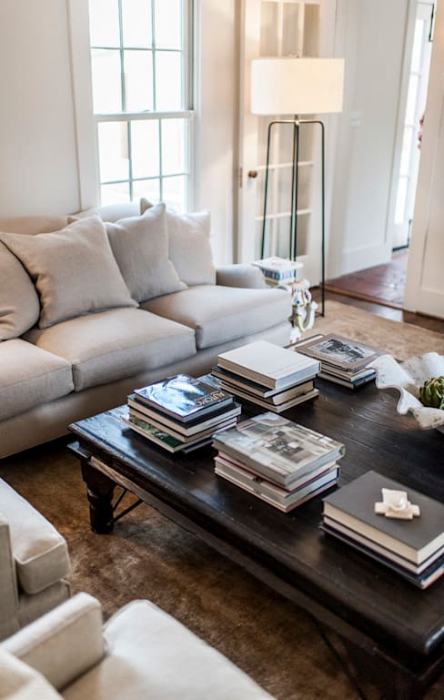 Spanish Colonial Interiors:  Living room by Christopher Architecture & Interiors