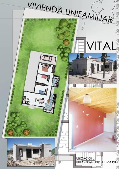 Lamina de proyecto Vivienda Vital: Casas de estilo  por Hornero Arquitectura y Diseño