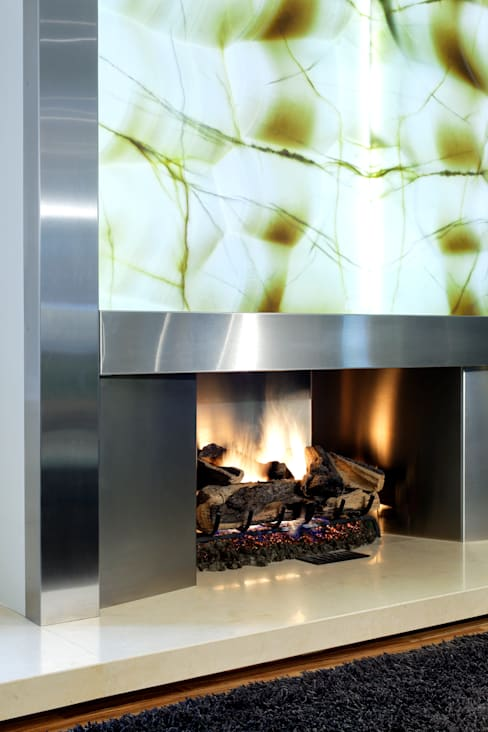 Fireplace Detail:  Living room by Douglas Design Studio
