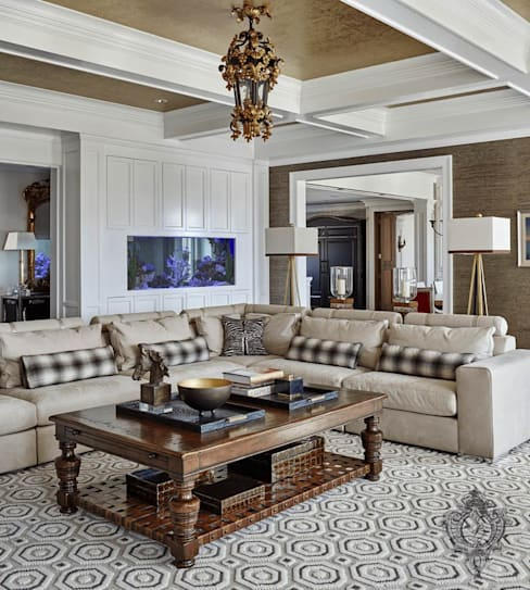 Family Room:  Living room by Kellie Burke Interiors