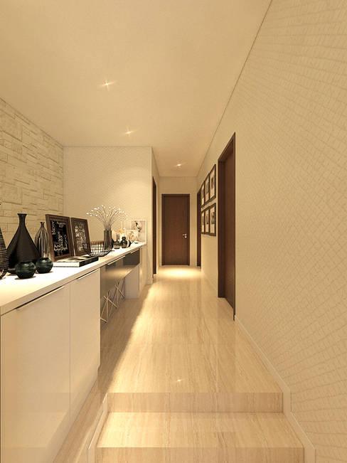 PRIVATE RESIDENTIAL @ NAVAPARK, BSD CITY, TANGERANG:  Koridor dan lorong by PT. Dekorasi Hunian Indonesia (DHI)