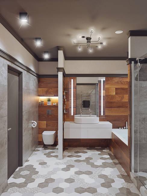 Квартира В ЖК «Лайнер», 171 кв.м.: Ванные комнаты в . Автор – Loft&Home