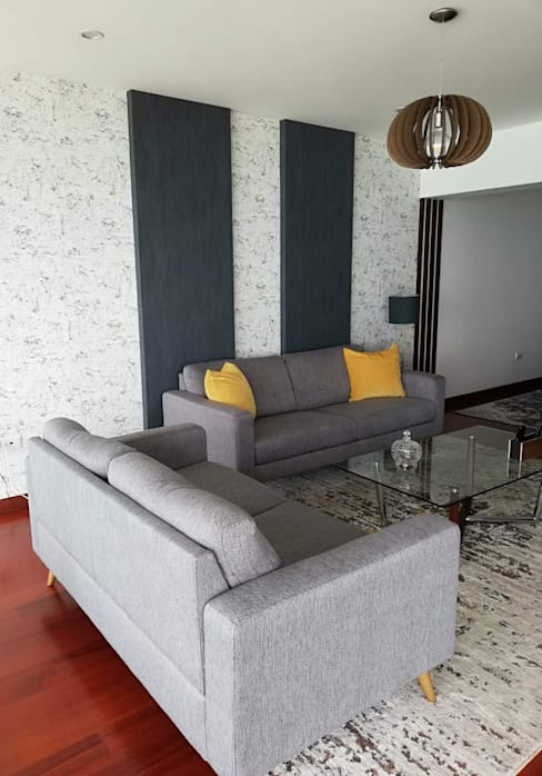 Departamento con vista espectacular al Malecon: Salas / recibidores de estilo  por Alicia Ibáñez Interior Design