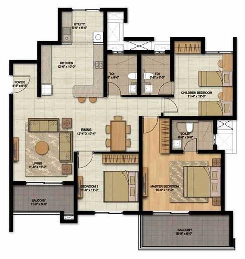 Builder's Layout:   by Honeybee Interior Designers