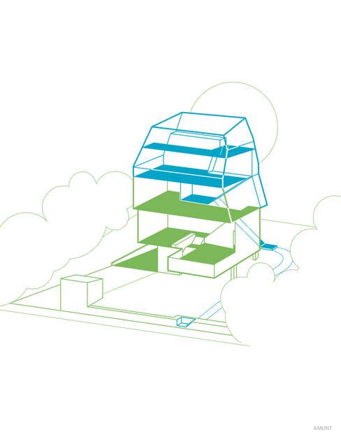 Nachhaltiges Nutzungskonzept: Das Haus kann in zwei Wohnungen geteilt werden:   von AMUNT Architekten in Stuttgart und Aachen