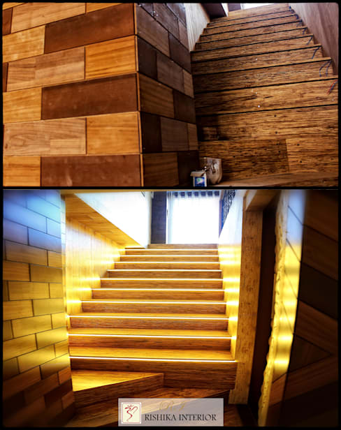 Staircase in house:   by Rishika Interior & Developer (p) Ltd.