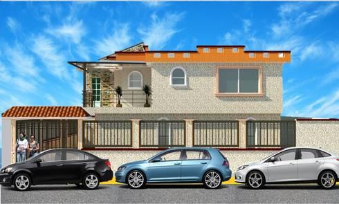 Fachada lateral: Casas de estilo rústico por DD Arquitectos
