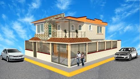 perspectiva: Casas de estilo rústico por DD Arquitectos