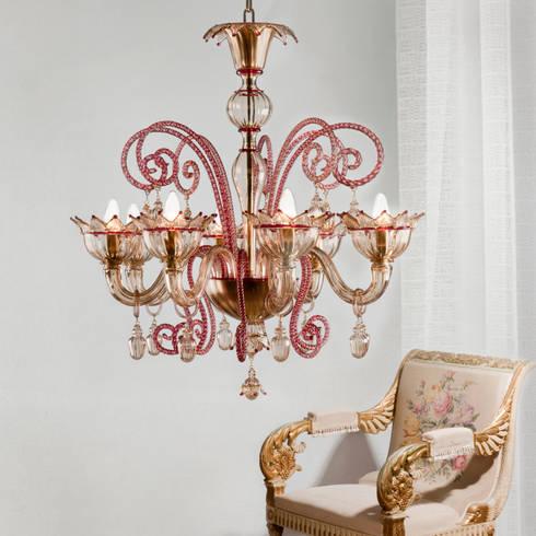 Lampadario in Vetro di Murano - lampadario classico in vetro rosso e ...
