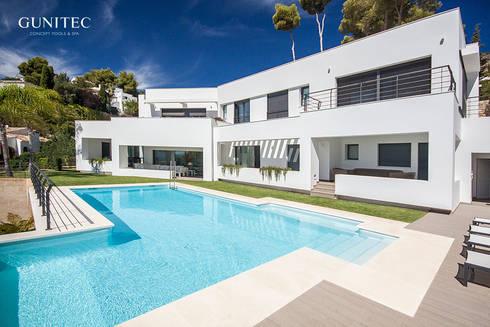 Piscina con pared de cristal: Jardín de estilo  de Gunitec Concept Pools